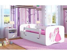 Bjird Letto per Bambini Singolo Bianco 140x70 160x80 180x80 con sponda anticaduta con barriera cassettone - Principessa e Cavallino - 80 x 160 cm (Senza Materasso)
