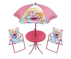 La Reine des Neiges 709548 Set per giardino composto da ombrellone, tavolino e 2 sedie, tema: Disney Frozen, colore: rosa, dimensioni sedie: 38 x32 x 53 cm, dimensioni tavolino: 50 x 50 x 48 cm, dimensioni ombrellone: 55 cm