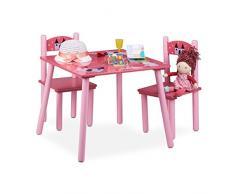 Relaxdays Funny Arredamento/Tavolino e Sedie per Bambini, Legno, Rosa, 59x59x53.5 cm