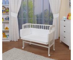 WALDIN Baby,Lettino culla,altezza regolabile,paracolpi e materasso,in 16 varianti,Superficie d'appoggio EXTRA lung. 90 x larg. 55 cm, bianco laccato,bianco
