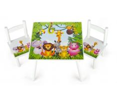 Leomark tavolo e 2 sedie in legno, tavolino set da cameretta per bambini, gioco di gruppo in classe, mobili per bambini, stanza dei bambini mobili alta qualità stabile, tema: JUNGLE
