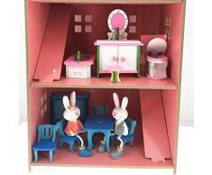 Simulazione Mobili Tavolo Bambola giocattolo Puzzle di legno Jigsaw Giocattoli Educativi Pretend Playset Simula casa Giocattoli per bambini (Blue Dining Room, 6Pcs)
