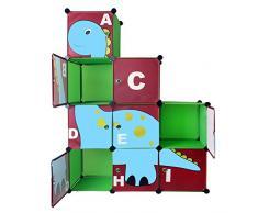 Te-Trend bambini cameretta 810110-Scaffale armadio in verde con Dino motivo