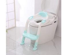 Riduttore Water Bambini con Scaletta - Regolabile Sedile rigido Formazione vasino bambino - Corrimano su entrambi i lati Adatto per a forma di V e U e O Toilet Seat per ragazzi ragazze Blu/Rosa (Blu)