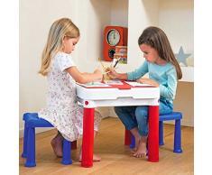 Keter Tavolo Tavolino Costruzioni per Bambini con 2 Sedie Sgabelli e Superficie Sagomata Lego Compatibile, Top del Tavolo Reversibile per Dusegnare e Colorare