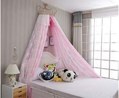 KID LOVE Corona Cupola Zanzariera,Ragazze Principessa Letto Canopy Bambini Giocare Casa Principessa Tenda-d Full