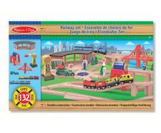 Melissa & Doug - 10701 - Set Ferrovia in Legno, Modelli/Colori Assortiti, 1 Pezzo