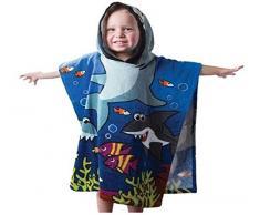 Adulti e Bambini Poncho accappatoio in spugna con cappuccio. Asciugamano da spiaggia in cotone 100%. Ideale per Bambini, uomini e donne., Blue, 3-10 anni