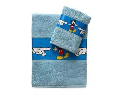Mickey Mouse Set 2 Pezzi Asciugamano 55 x 100 + Ospite 30 x 50 Disney Topolino Asciugamani 100% Spugna di Puro Cotone