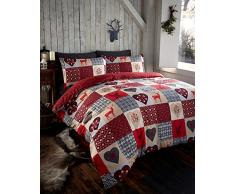 Thru The Lens Stag Red Hearts letto singolo copripiumino e federa set di biancheria da letto patchwork