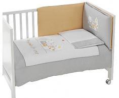 Interbaby - 91126 - Set di 3 pezzi - Trapunta + Paraurti da culla + Cuscino per letto - Grigio - 60x120 cm Grigio (Grau), 3