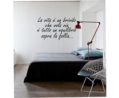 """wall stickers Adesivo murale frase """"La vita è un brivido che vola via"""" (57cm x 25cm) - adesivi murali decorazioni interni by tshirteria"""