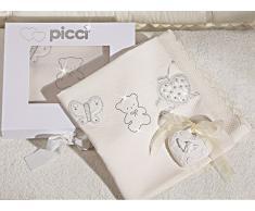 Copertina Culla Picci Jasmine in Piquet Ricamata Cod 52.53 Panna