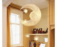 Lonfenner lampada a sospensione/plafoniera con luna e stelle, per la cameretta dei bambini/soggiorno