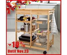 SoBuy FKW04-N - Carrello da cucina in legno massello con ripiani e cassetti