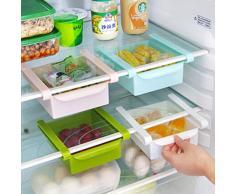 Bluelover Cucina in plastica Frigorifero Fridge rack di stoccaggio congelatore mensola della cucina del supporto Organizzazione Blu