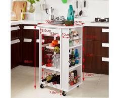 SoBuy Carrellino salvaspazio, Scaffale da cucina, Carrello di servizio,in legno, bianco, FKW12-W, IT