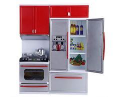 Cucina moderna in plastica per bambini, Mini cucina finta giocattolo gioco di ruolo,migliori prodotti gioco con accessori con forno a gas, microonde, frigorifero, mobili da cucina per bambini.