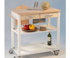 Carrello da Cucina mod. CHEF - Legno Naturale e Struttura acciaio Verniciato Bianco art. 0/163