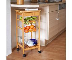 Relaxdays -Carrello da Cucina Modello James S in Legno Di Bambu' con Ruote Piroettanti & H X B X T: 80,5 X 37 X 37 Cm