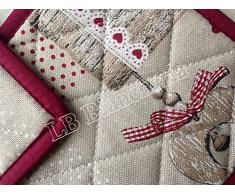 R.P. Set 2 presine Cucina Holly Bordeaux Cuori Tirolese Country Chic - Made in Italy