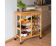 Relaxdays - Carrello da cucina modello XXL JAMES in legno di bambu'con le seguenti misure: HBT 80 x 67 x 37 cm con 2 cassetti, 3 cestini, rotelle e spazio ulteriore per piatti e bottiglie di vino