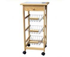 Spetebo - Carrello da cucina su ruote in legno con piano di lavoro, cassetto e tre ripiani