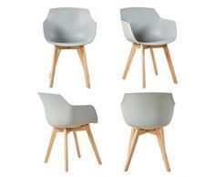 DORAFAIR Set di 4 Pranzo/Ufficio Sedia con Gambe in Faggio Massiccio, Poltrona Moderno Design Sedie Cucina Scandinavo - Grigio