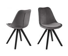 Amazon Brand - Movian Arendsee - Set da 2 sedie sala da pranzo, 55 x 48,5 x 85 cm, grigio