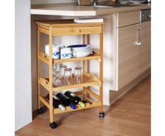 Relaxdays -Carrello per Cucina in Bambù Modello James XL, H X B X T: 80.5 X 50 X 37 cm