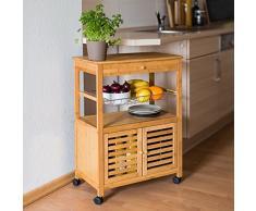 Relaxdays - Carrello da Cucina Della Serie James XL, Bambù, con Rotelle, Ripiani e Cestini, 80 X 60 X 35 cm, Marrone