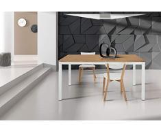 Milani Home s.r.l.s. Tavolo da Pranzo Moderno di Design Allungabile Cm 90 X 160/220 Rovere Struttura Bianca Piano Naturale per Sala da Pranzo