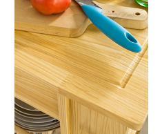 SoBuy Carrello di servizio, Scaffale da cucina, Mensola angolare, Legno, FKW12-N(L50*L37*A86cm).IT