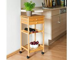 Relaxdays James M Carrello da cucina in bambu, rotelle con freno, 2 cassetti, 80 x 40 x 37 cm