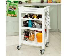 SoBuy Carrello di servizio, carrello da cucina, Legno e vetro temperato , FKW16-G-W, (L58*L40*A90cm).IT