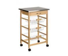 Premier Housewares 2403027 Carrello da Cucina, Legno di Pino, Piano in Acciaio Inossidabile, Cassetto, 3 Cesti Filo Metallico, Ruote