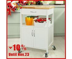 SoBuy® Carrello cucina,Scaffale da ufficio,mensola angolare, Legno, FKW22-WN (L60*L44.5*A90cm). IT