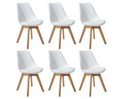 DORAFAIR Set di 6 Sedia Design scandinave Sedia da Pranzo con Gambe in Quercia Massiccio e Cuscini in Finta Pelle,Bianc
