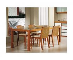Arosio Bernardel - tavolo rettangolare con struttura in massello di ciliegio e piano in vetro sarinato (ordinabile anche a multipli). VERO LEGNO, cm 210 x 90,5, Ciliegio