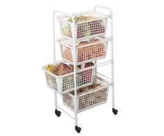 Metaltex - Miami, Mobiletto da cucina con ruote e 4 cesti in plastica, 37,5 x 30 x 83,5 cm, Bianco