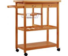 Homcom - 05 - 0014, Carrello da cucina, legno, naturale, 81 x 38 x 85,5 cm
