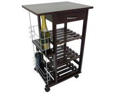 Carrello da cucina in legno noce marrone con porta bottiglie cassetto e ruote 3 piani