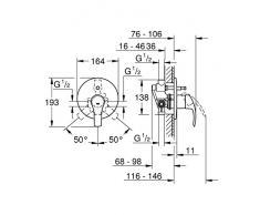 Grohe 33305002 Eurosmart New Miscelatore Monocomando per Vasca/Doccia ad Incasso, Cromo