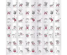 Tatkraft Funny Cats tenda da doccia 180 x 180 cm materiale impermeabile PEVA con 12 Anelli per tende