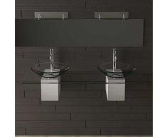 2 Vasetto in vetro trasparente lavaggio Shell Ø 46 cm con vetro trasparente lavabo Piastra 140 cm Alpen Berger®