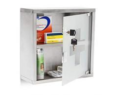 Relaxdays Armadietto medicinali cassetta farmaci mobile bagno acciaio inossidabile 30 x 30 x 12 cm 2 ripiani e misure: 30 x 30 x 12 cm