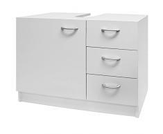 Deuba armadietto sottolavabo mobile per il bagno 63X54x30cm 3 cassetti e ripiano con anta bianco mobiletto per lavandino