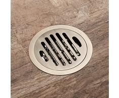Popowbe, Griglia di scarico rotonda per pavimento di bagno o doccia, in ottone, anti-odore, scarico per pavimento del bagno