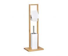 Relaxdays 10020303 Portascopino per WC in Legno, in Legno di Bambù, con Porta Scopino e Porta Carta Igienica, 21 X 30.5 X 82 cm, Marrone Chiaro e Bianco