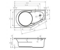Vasca da bagno in acrilico RIHO angolare destro YUKON 160 x 90 cm